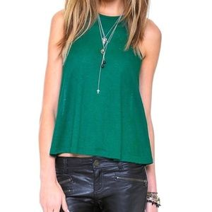 Free People Long Beach Tank Top Green Flowy Ribbed